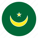 africa, color, country, flag, mauritania, nation, round icon