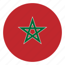 africa, color, country, flag, morocco, nation, round icon