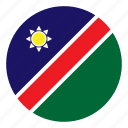 africa, color, country, flag, namibia, nation, round icon