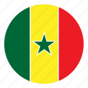 africa, color, country, flag, nation, round, senegal icon