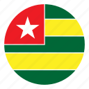 africa, color, country, flag, nation, round, togo icon