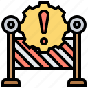barrier, impediment, issue, obstruction, problem icon