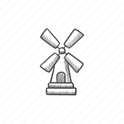 country, mill, propeller, tower, village, wind, windmill icon