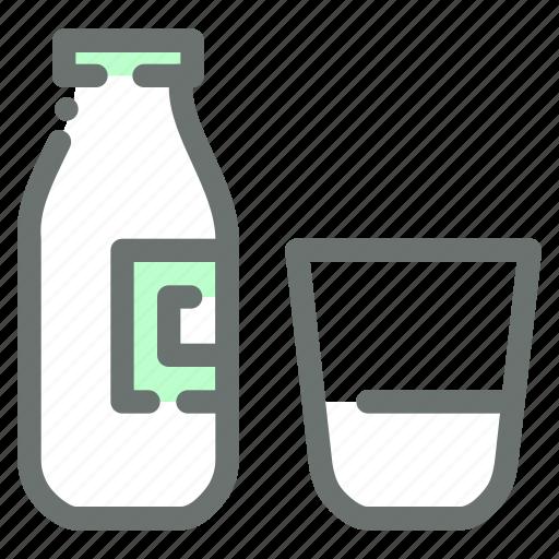 Glass, dairy, milk, bottle icon