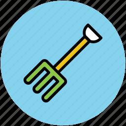 digging fork, garden fork, garden tools, gardening tools, rake, rake fork icon