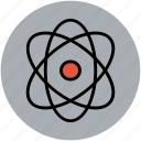atom, atom sign, atomic, electron, helium atom, neutron icon
