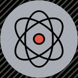 atom, atom sign, atomic, electron, helium atom, neutron icon