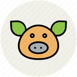 agriculture, animal, animal face, cattle, pig icon