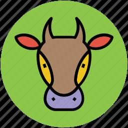 animal, animal head, bull face, cow face, ox head icon