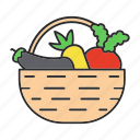 basket, beet, carrot, farming, food, organic, vegetable icon