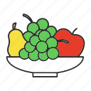 apple, bowl, food, fruit, grapes, organic, pear icon