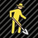 agriculture, dig, farmer, farming, shovel, spade, worker icon