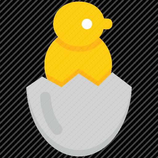 broken, chick, egg, farming, hatching icon