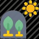 agriculture, farming, flower, garden, leaf, sun icon