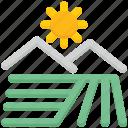 ecology, environment, field, garden, sun icon