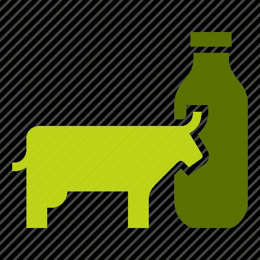 bottle, cow, dairy, drink, farm, glass, milk icon