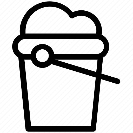 bucket, container, full, housework, pail, pot, water icon
