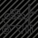 agriculture, farming, grass, hay, pitchfork, straw, wheelbarrow icon