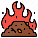 burning, forest, pollution, smoke icon