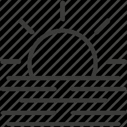 fog, sun, weather icon
