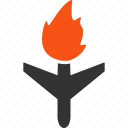 accident, air plane, aircraft, airplane, burn, fire, flame icon