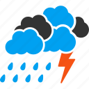 clouds, cloudy, lightning, rain, storm, thunderstorm, weather forecast icon