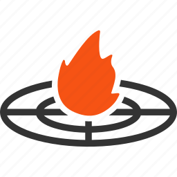 accident epicenter, burn, camp fire, flame, location, place, target icon