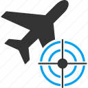 aim, air plane, aircraft, airplane, bullseye, flight, target icon