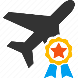 aircraft, airplane, airport, award, certification stamp, plane, quality icon
