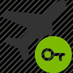 access key, airplane, login, open, password, security, unlock icon