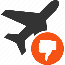 aircraft, airplane, decline, denied, fail, negative, reject icon
