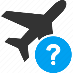 aircraft, airplane, information, plane, query, question mark, status icon