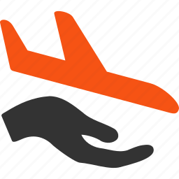 air plane, aircraft, airplane, aviation, hand, insurance, support icon