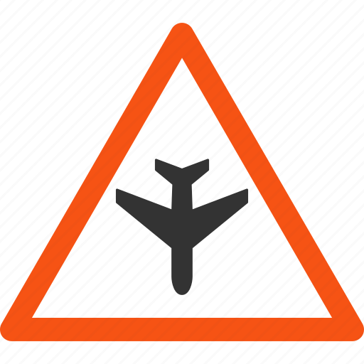 aircraft, airplane, airport, alarm sign, alert, flight, warning icon