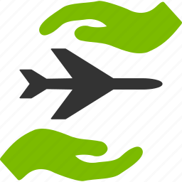 aircraft, airplane, aviation, care, hands, insurance, protection icon