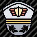 cap, captain, hat, military, pilot icon