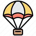 delivery, package, parachute, service, shipment icon