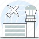 aircraft, airplane, airport, building, concept, tower icon