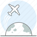 aircraft, airplane, airport, concept, earth, world icon