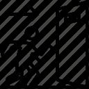 emergency door, emergency evacuation, emergency exit, exit door, exit gate icon