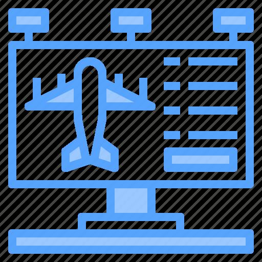 airport, billboards, flight, terminal, tourism, travel, trip icon