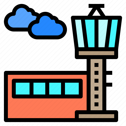 airport, control, flight, tourism, tower, travel, trip icon