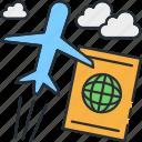 passport, plane, traveling icon