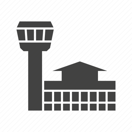 aeroplane, airport, building, entrance, terminal, tower, wall icon