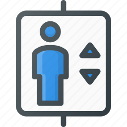 airport, down, elevator, sign, terminal, up icon