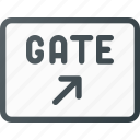 airport, direction, gate, information, sign, terminal icon