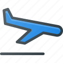 airport, plane, atention, landing, sign icon