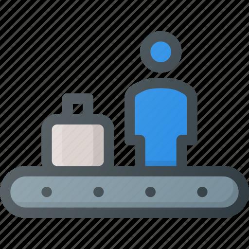 airport, conveyor, lost, person icon