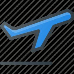 off, plane, sign, take icon