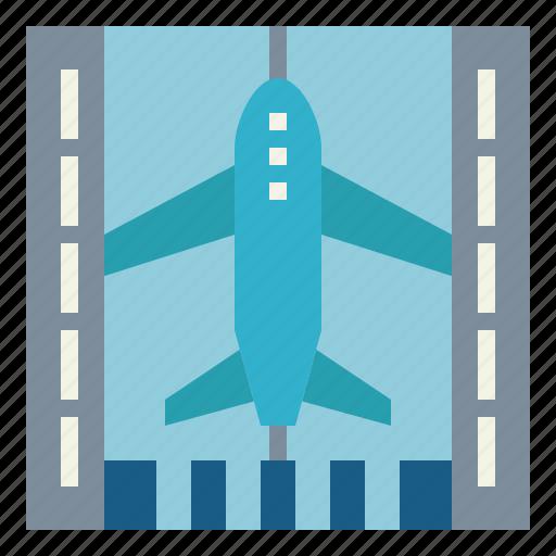 aircraft, airport, landing, runway icon